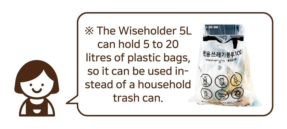 ※ The Wiseholder 5L can hold 5 to 20 litres of plastic bag, so it can be used in-stead of a household trash can.